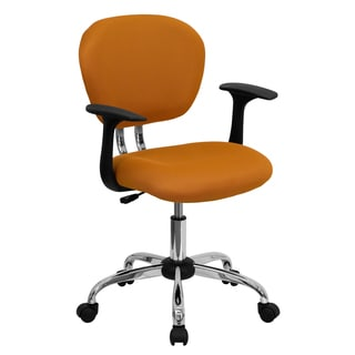 Rigmos Orange Mesh Adjustable Swivel Office Chair with Arms and Chrome Base