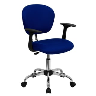 Rigmos Blue Mesh Adjustable Swivel Office Chair with Arms and Chrome Base