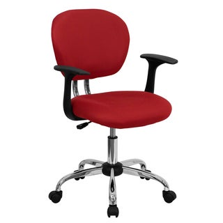 Rigmos Red Mesh Adjustable Swivel Office Chair with Arms and Chrome Base