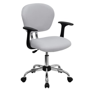 Rigmos White Mesh Adjustable Swivel Office Chair with Arms and Chrome Base