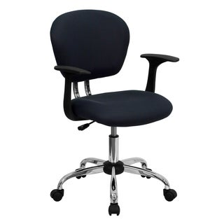 Rigmos Grey Mesh Adjustable Swivel Office Chair with Arms and Chrome Base
