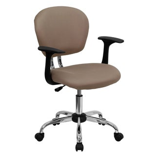 Rigmos Coffee Colored Mesh Adjustable Swivel Office Chair with Arms and Chrome Base