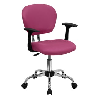 Rigmos Pink Mesh Adjustable Swivel Office Chair with Arms and Chrome Base