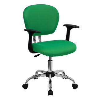 Rigmos Bright Green Mesh Adjustable Swivel Office Chair with Arms and Chrome Base