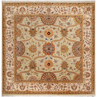 ABC Accent Jaipur Hand-knotted Green Wool Rug (6' x 9')