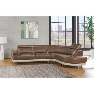 2-piece Pluto Walnut/ Pluto Pearl Sectional