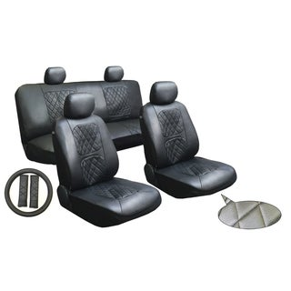 Black 11 Piece Luxury Diamond Stitched Leatherette Car Truck SUV Seat And Steering Wheel Covers
