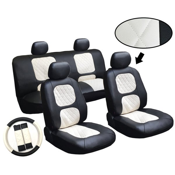 11 Piece Car Truck Seat Cover: Miami 11-piece Luxury Diamond Stitched Leatherette Car