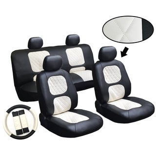 Miami 11-piece Luxury Diamond Stitched Leatherette Car Truck SUV Seat and Steering Wheel Covers Set