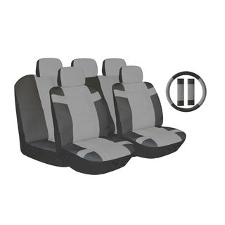 Grey Two-tone PU Leather Car Seat Covers Universal Fit