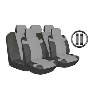 Grey Two Tone PU Leather Car Seat Covers Universal Fit