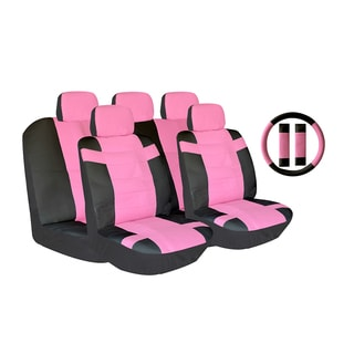 Pink Two-tone PU Leather Car Seat Covers Universal Fit