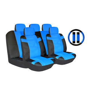 Blue Two-tone PU Leather Car Seat Covers Universal Fit