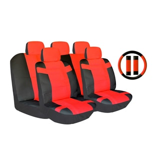 Red Two-tone PU Leather Car Seat Covers Universal Fit