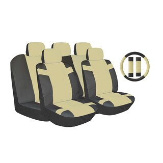 Tan Two-tone PU Leather Car Seat Covers Universal Fit