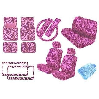 Pink Zebra Premium New Style Car Truck 18-piece Seat Cover Set with Mats License Plates