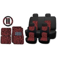 Mesh Red Zebra 15-piece Seat Covers and Floor Mats Set