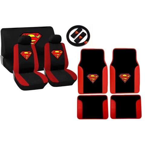 Red and Black Superman Stitched Logo 15-piece Seat Cover Set
