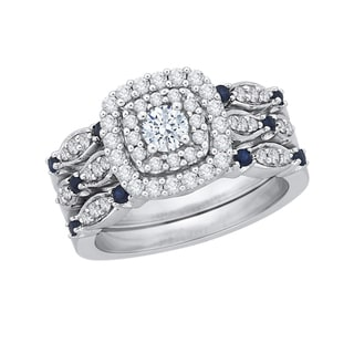 10k White Gold 7/8ct TDW Sapphire and Diamond Bridal Engagement Ring Set (J-K, I1-I2)