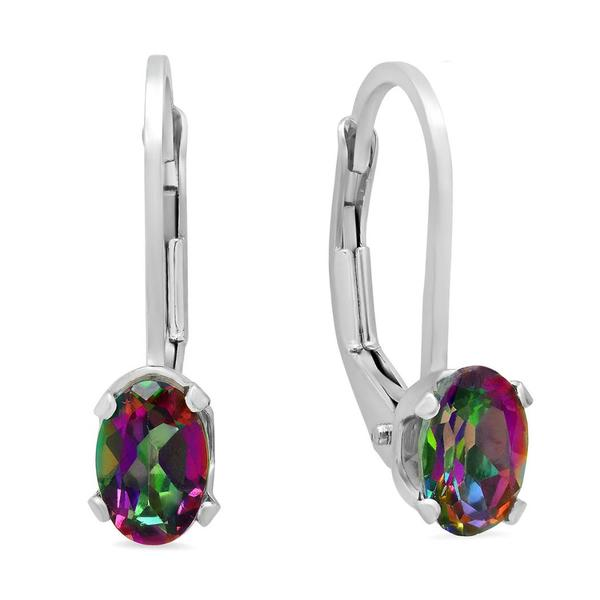 Amanda Rose Collection Mystic Topaz Leverback Earrings in Sterling Silver