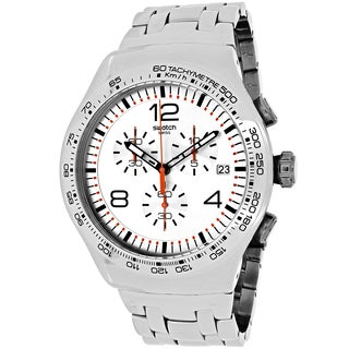 Swatch Men's YOS445G Shiny Addict Round Silver-tone Stainless Steel Bracelet Watch