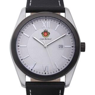 Louis Richard Men's Woodcroft Black Genuine Leather Grey Dial Quartz Watch