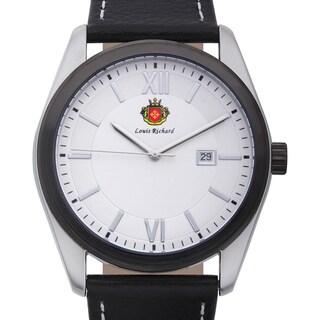 Louis Richard Men's Woodcroft Black Genuine Leather White Dial Quartz Watch