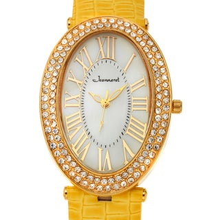 Jeanneret Women's Isabella Mother of Pearl Watch with Yellow Leather Strap
