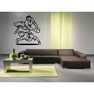 Rugby ball and the athlete shark Wall Art Sticker Decal