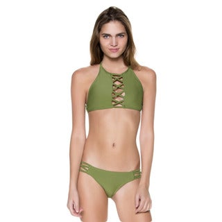 Dippin' Daisy's Olive Two-Piece Hi-Neck Criss-Cross Tank with Strappy Criss-cross Bottom