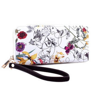 Dasein Floral Print Zip-Around Textured Faux Leather Wallet