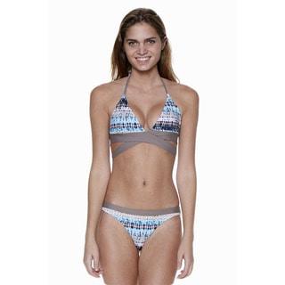 Dippin' Daisy's Blue Natural Two-Piece Wraparound Halter Bikini