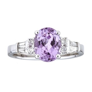 Anika and August 14k White Gold Oval-cut Afghan Kunzite and 1/4ct TDW Diamond Ring (G-H, I1-I2)