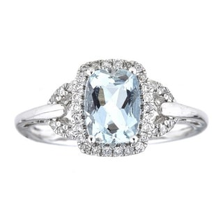 Anika and August 10k White Gold Cushion-cut Brazilian Aquamarine and 1/5ct TDW Diamond Ring (G-H, I1-I2)