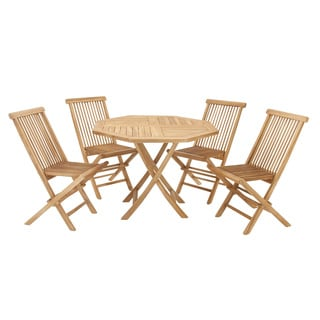 Casa Cortes Teak Wood Folding Chair 5-Piece Round Patio Dining Set