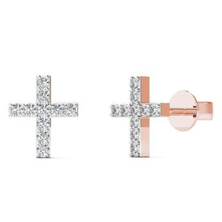 AALILLY 10k Rose Gold Diamond Accent Cross Stud Earrings