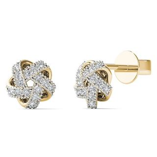AALILLY 10k Yellow Gold Diamond Accent Knot Stud Earrings