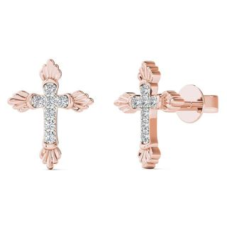 AALILLY 10k Rose Gold Diamond Accent Cross Stud Earrings (H-I, I1-I2)