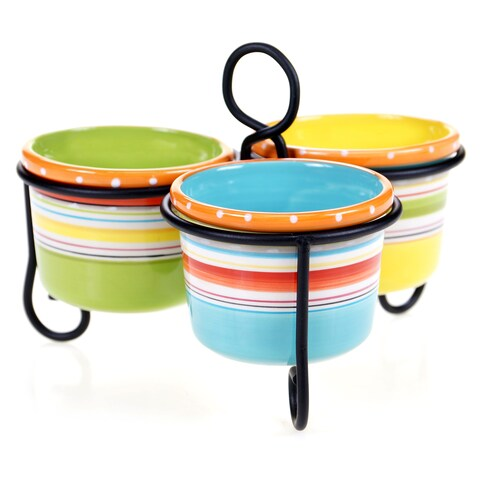 Certified International Mariachi 3-Bowl Server with Metal Stand
