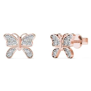 AALILLY 10k Rose Gold Diamond Accent Cute Butterfly Stud Earrings
