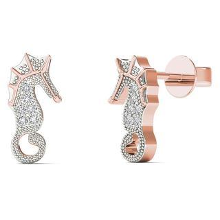 10k Rose Gold Diamond Accent Sea Horse Stud Earrings (H-I, I1-I2)