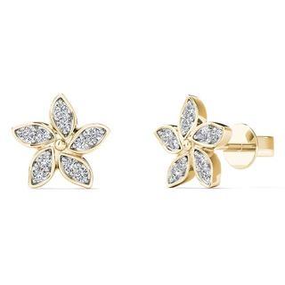 10k Yellow Gold Diamond Accent Flower Stud Earrings (H-I, I1-I2)