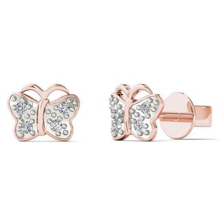 10k Rose Gold Diamond Accent Butterfly Fashion Stud Earrings (H-I, I1-I2)