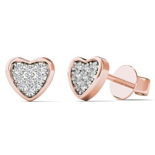 AALILLY 10k Rose Gold 3/5ct TDW Diamond Heart Stud Earrings (H-I, I1-I2)