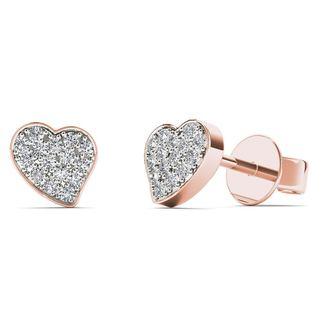 AALILLY 10k Rose Gold 1/10ct TDW Diamond Heart Stud Earrings (H-I, I1-I2)