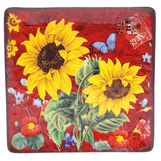 Certified International Sunflower Meadow Square Platter 12.25-inch