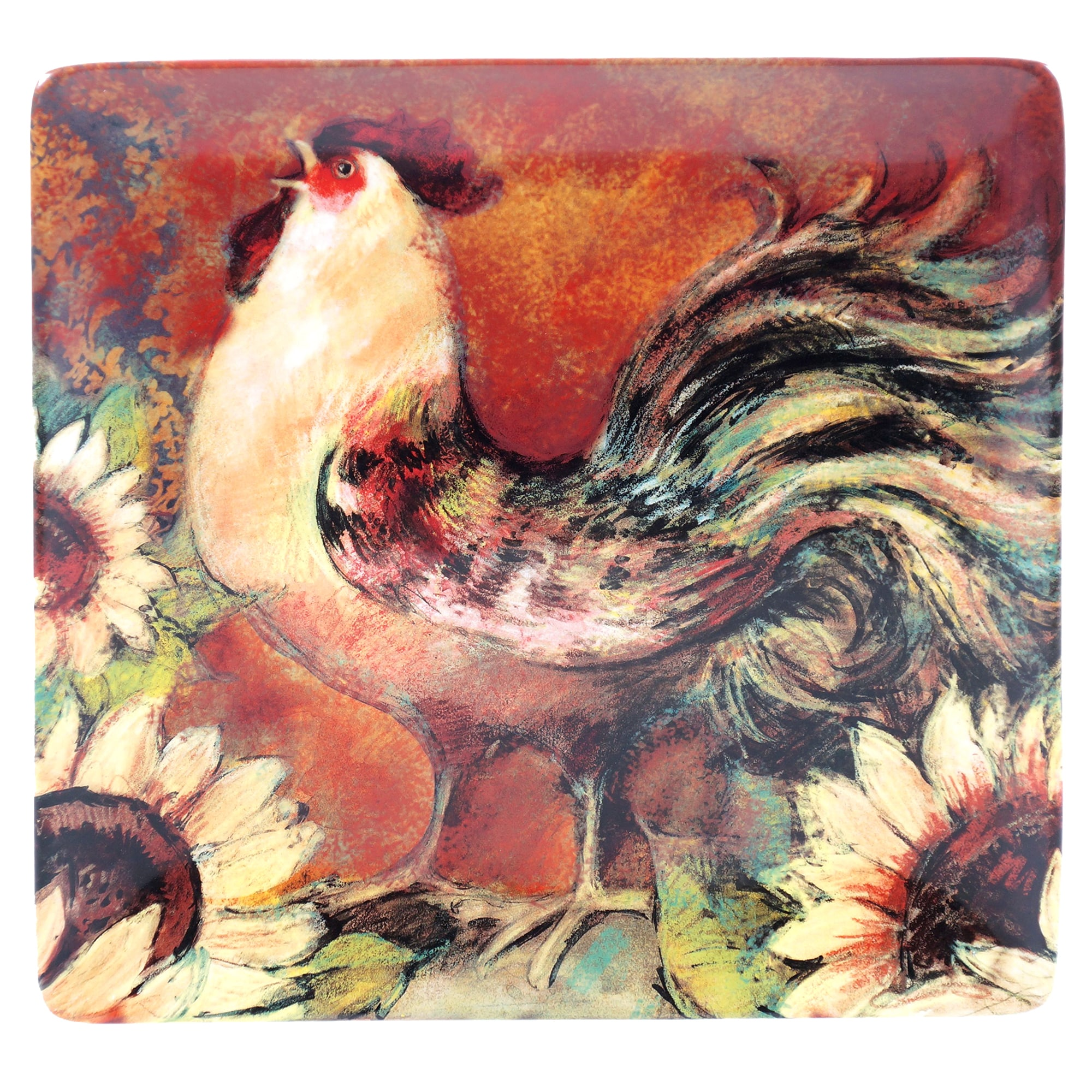 Certified Intl Sunflower Rooster Square Platter 12.5-inch...
