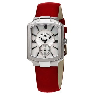 Philip Stein Women's 21-CMOP-MR 'Classic Square' Mother of Pearl Dial Red Leather Swiss Quartz Watch