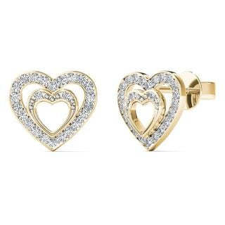 10k Yellow Gold 1/6ct TDW Diamond Double Heart Stud Earrings (H-I,I1-I2)