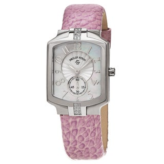 Philip Stein Women's 21SD-FMOP-CGLA 'Classic Square' Mother Of Pearl Dial Lavender Leather Strap Diamond Quartz Watch
